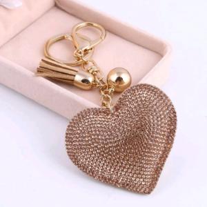 Porte-clefs cœur beige