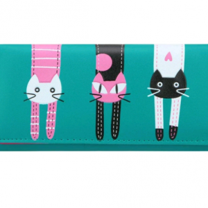 Portefeuille chat, turquoise