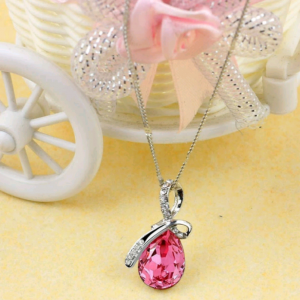 Collier goutte d'eau rose