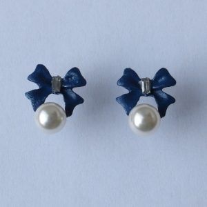 Boucles d'oreilles nœud bleu
